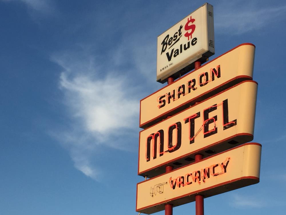 sharon motel front sign