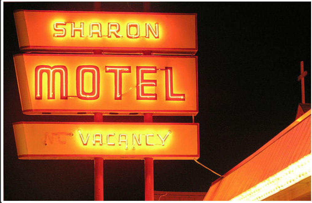 sharon motel at night